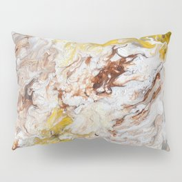 Brown, White and Yellow Abstract Art Pillow Sham