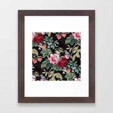 Noir Flower Pattern Framed Art Print