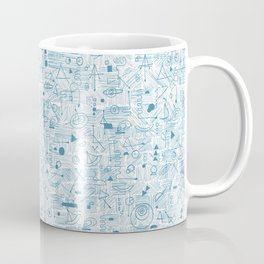 Blue and White Space Inspired Futuristic Pattern Coffee Mug