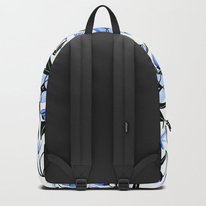 Blue & Black Flowers - Watercolor Pattern Backpack