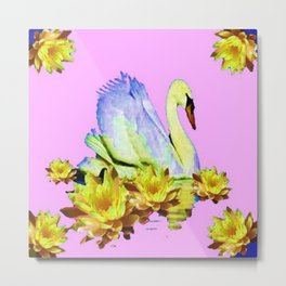 White Swan & Yellow Water Lilies Pink Art  Fantasy Metal Print