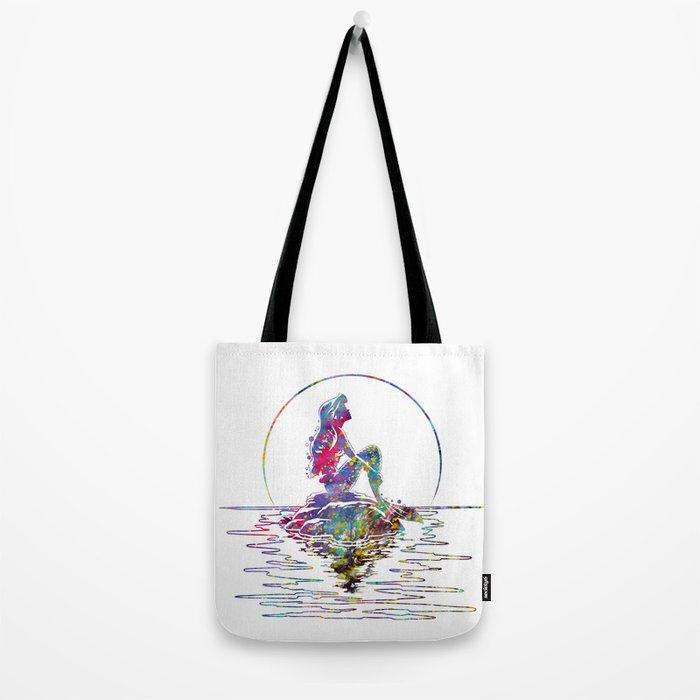 The Little Mermaid Ariel Silhouette Watercolor Tote Bag