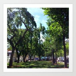 Sir Winston Churchill Square Summer Elms Art Print