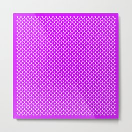 Tiny Paw Prints Pattern - Bright Magenta and White Metal Print