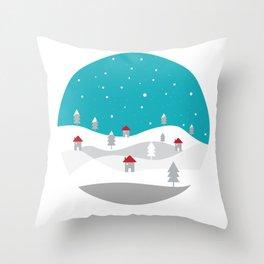 Xmas Winter White Christmas Scene, beautiful landscape winter Throw Pillow
