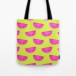 Cute Pink Watermleons on Lime Tote Bag