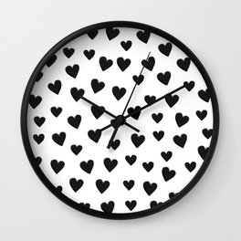 Hearts Love Black and White Pattern Wall Clock