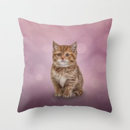 Drawing funny striped kitten 5 Throw Pillow