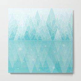 Geometric Lake Mountain IV - Winter Metal Print