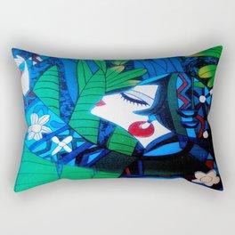 Oriental Lady Black and Blue Rectangular Pillow