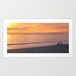 Sunset with a bicycle Art Print