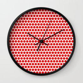 Polka / Dots - White / Red - Large Wall Clock