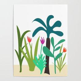 Lush Tropical Garden // Hand-drawn Modern Organic Illustration Poster