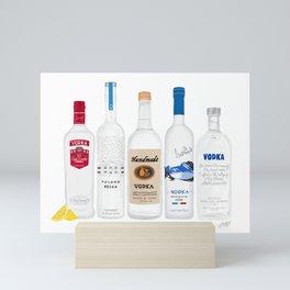 Vodka Bottles Illustration Mini Art Print