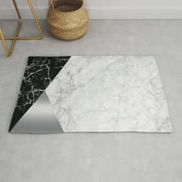 Geometric White Marble - Black Granite & Silver #230 Rug