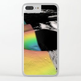 Rainbow Moon Craters Clear iPhone Case