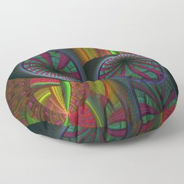 Tunneling Abstract Fractal Floor Pillow