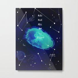 Méduse bleue Metal Print