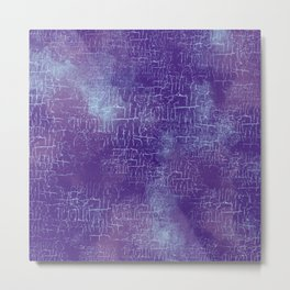 Abstract Grunge Art in Violet Purple and Blue Metal Print