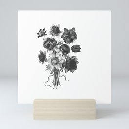 Spring Wildflowers with Ribbons Black and White Mini Art Print