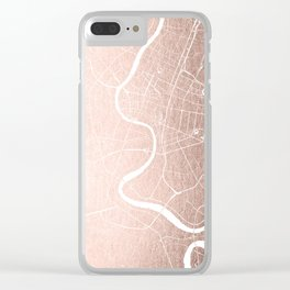 Bangkok Thailand Minimal Street Map - Rose Gold Pink and White II Clear iPhone Case