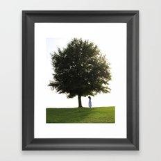 Girl By Tree Framed Art Print