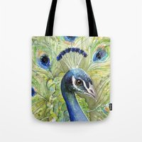 peacock Tote Bags featuring Peacock by Olechka