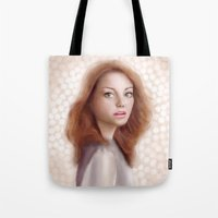 emma stone Tote Bags featuring Emma Stone by Jessica Guetta