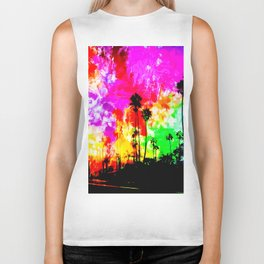 palm tree at the California beach with colorful painting abstract background Biker Tank