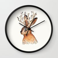 jackalope Wall Clocks featuring Jackalope by Sandra Dieckmann