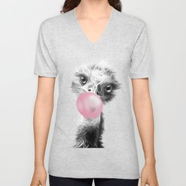 Bubblegum Emu Luminous Art. Funny blow a bubble emu  Unisex V-Neck