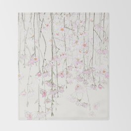 pink cherry blossom Throw Blanket