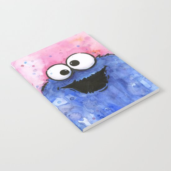 Cookie Monster Funny Cartoon Character Watercolor Blue Pink Notebook