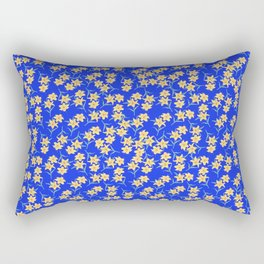 Yellow Lilies on Cornflower Blue Background Rectangular Pillow