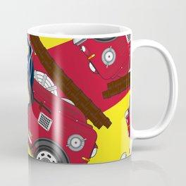 Cute Cartoon Fireman and Fire Engine Pattern Coffee Mug
