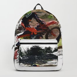 On His Tail - Motocross Sports Art Backpack