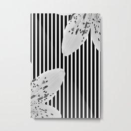 Monochrome stripes and lilies Metal Print