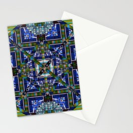 number 138 green blue aqua pattern Stationery Cards