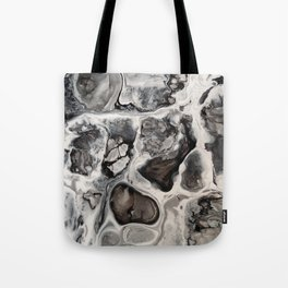 """Black, Silver and White Fluid Painting - """"Obsidian"""" Rock Tote Bag"""