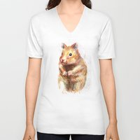 hamster V-neck T-shirts featuring hamster by dace k