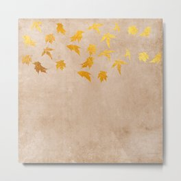 Gold leaves on grunge background - Autumn Sparkle Glitter design Metal Print