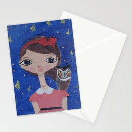 ~ Great Horned Owl ~ 10 Year Old Amelia's Arizona Critter Girl Stationery Cards