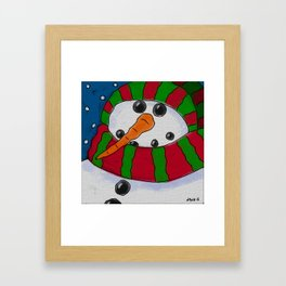 Chilly Snowman Abstract Digital Painting Framed Art Print
