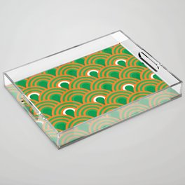 retro sixties inspired fan pattern in green and orange Acrylic Tray