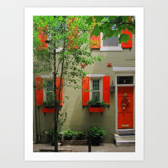 Orange and green Art Print