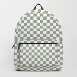 Desert Sage Grey Green and White Check Backpack