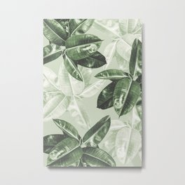 Tropical Leaves Dark Green Pattern Metal Print