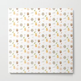 Cute Owls and Autumn Leaves Pattern Metal Print