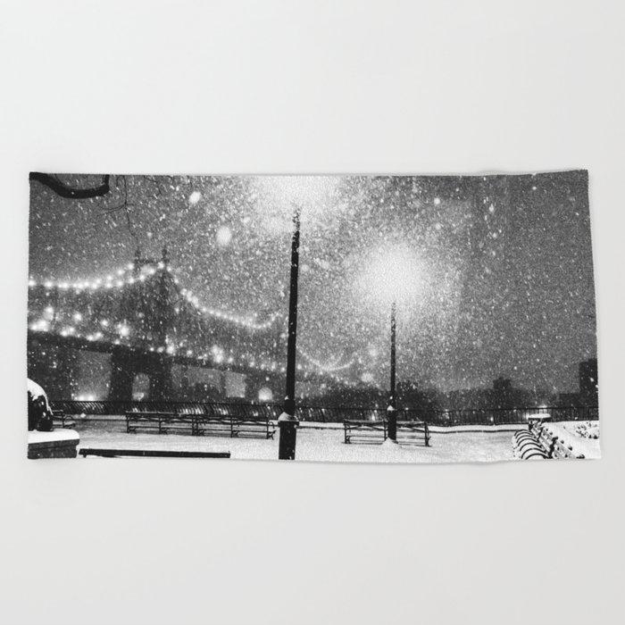 New York City Night Snow Beach Towel