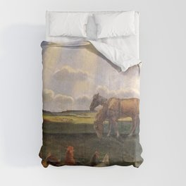Columns of Sun over the Family Homestead on the American Plains by John Steuart Curry Comforters